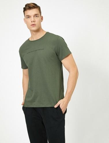 Koton Yazili Baskili T-Shirt Yeşil